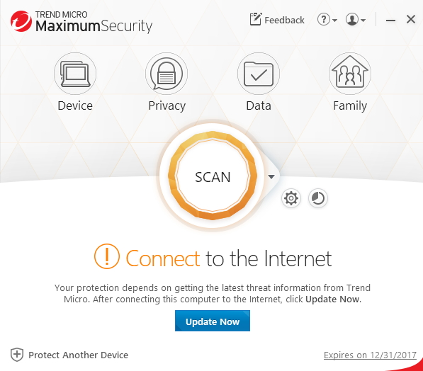 Connect to the internet error message on Trend Micro software