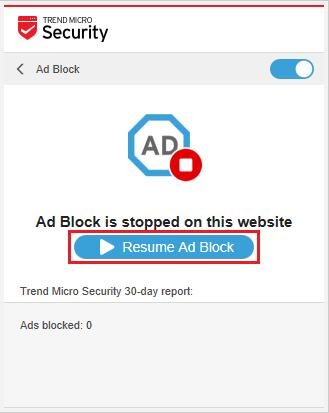 Resume Ad Block