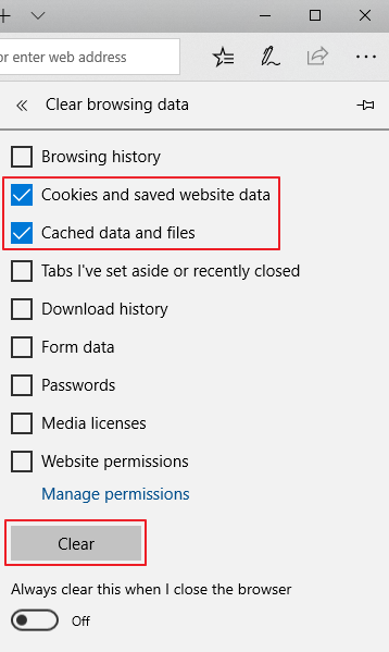 Clear browsing data - Cookies and Cache data