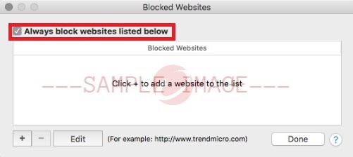 Always block websites listed below