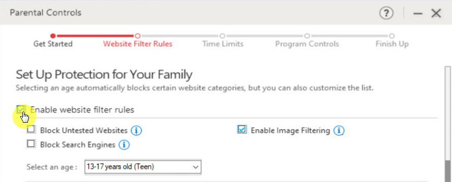 Enable website filter rules