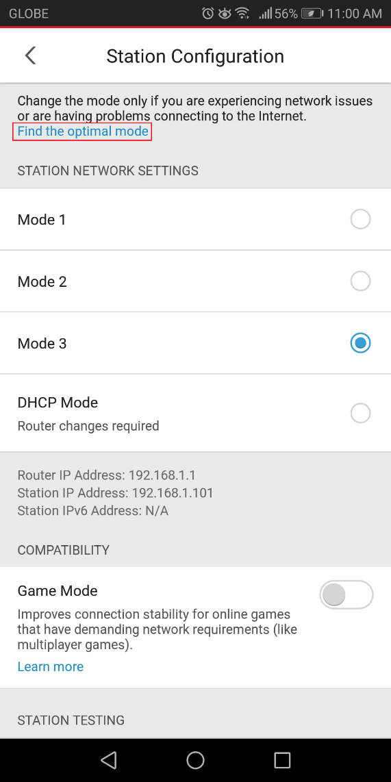 Enabling Mode 2 on Home Network Security