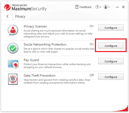 Configure Social Networking Protection