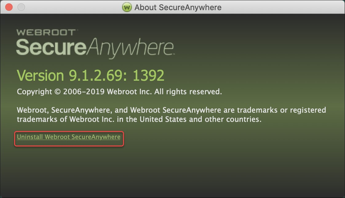 Uninstall Webroot SecureAnywhere